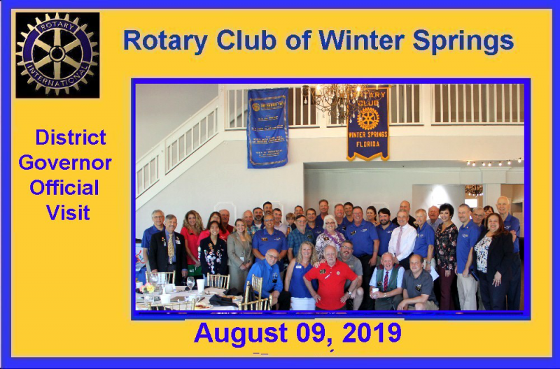 The Winter Springs Rotary club with District Governor Cindi Cioci, and Assistant Governor Alex Sacharoff.
